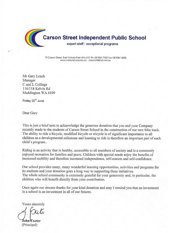 Carson Street Thank you Letter Bike Path 2014.