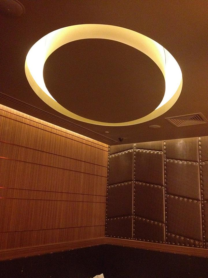 Crown Casino - Gaming Extension, Burswood - Elliptical Plasterboard Bulkhead feature in Corner Lounge