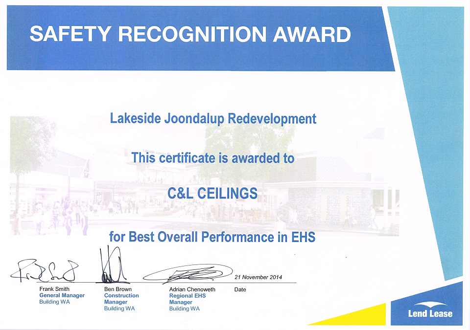 Safety Recognition Award 2014