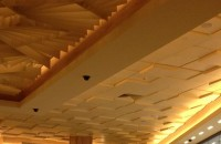 Grid Ceiling with painted Architectural Design Fibre Glass Drop Ceiling Tiles, Plasterboard Bulkheads